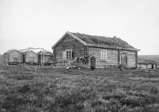 Женщина рядом с домом и точильным камнем. Автор Софус Тромгольт