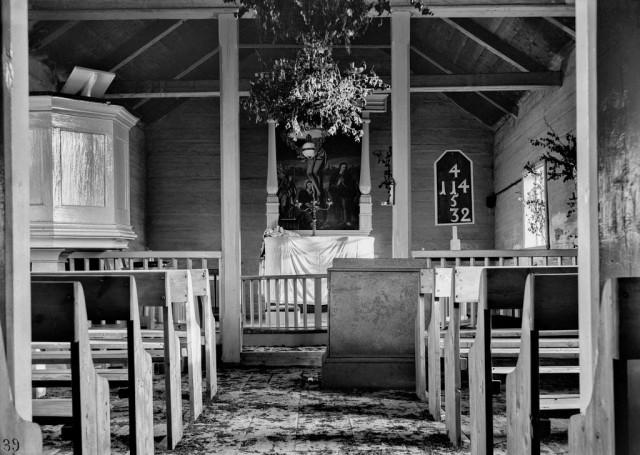 Интерьер церкви в Кёутукейну, Норвегия, 1882-1883. Автор Софус Тромгольт