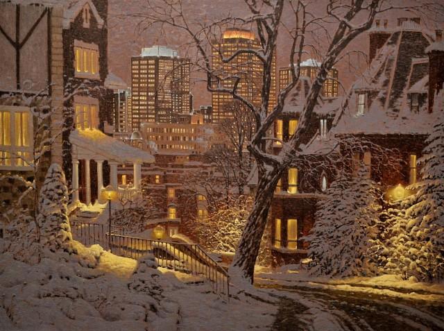 Зимний городской пейзаж. Автор Ришар Савуа