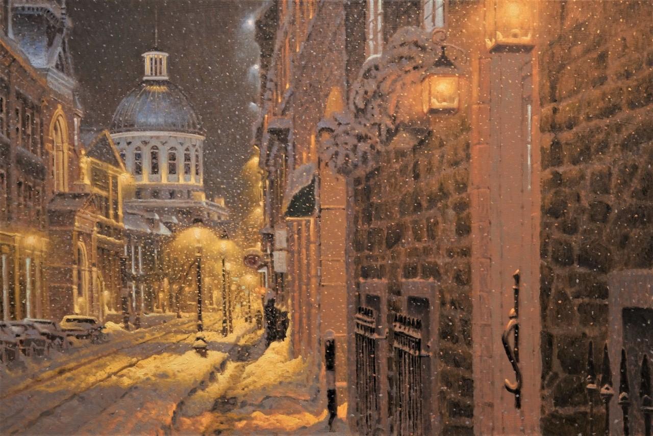Снежная ночь на улице Сен-Поль в Старом Монреале. Автор Ришар Савуа