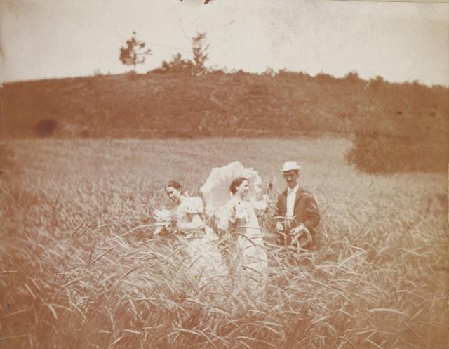 Трое друзей в поле, примерно 1900 год