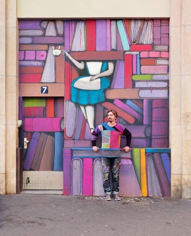 Художник и его фреска в Батиньоль-Монсо, Париж. Автор Джозеф Форд