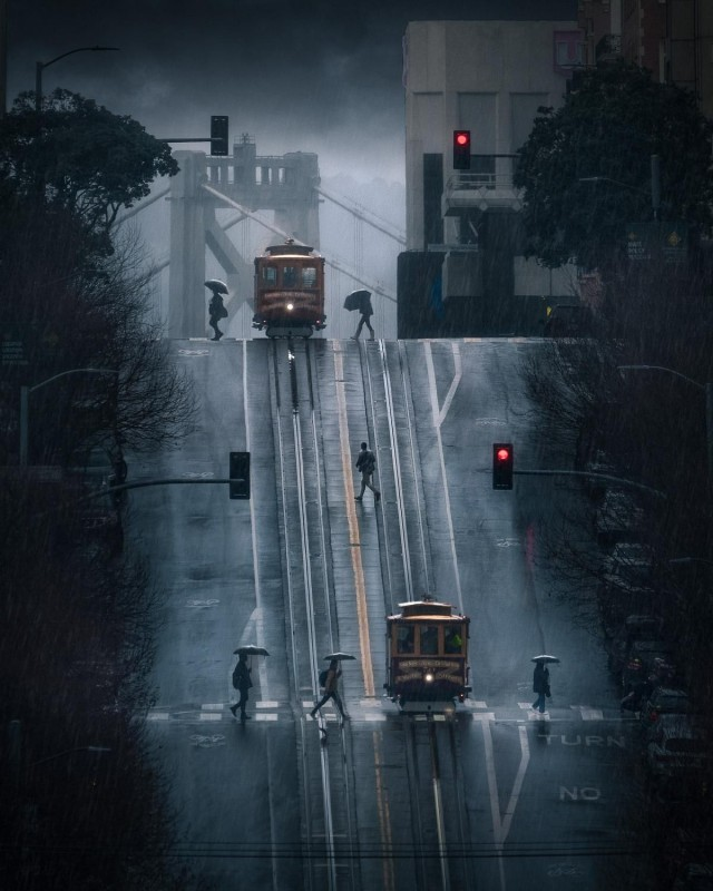Дождливый Сан-Франциско. Фотограф Майк Сидофски