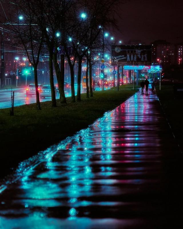 Киберпанковый городской пейзаж. Минск, 2020. Фотограф Александр Фанковин