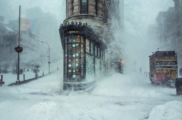 Метель, Флэтайрон-билдинг, Нью-Йорк. Фотограф Мишель Палаццо