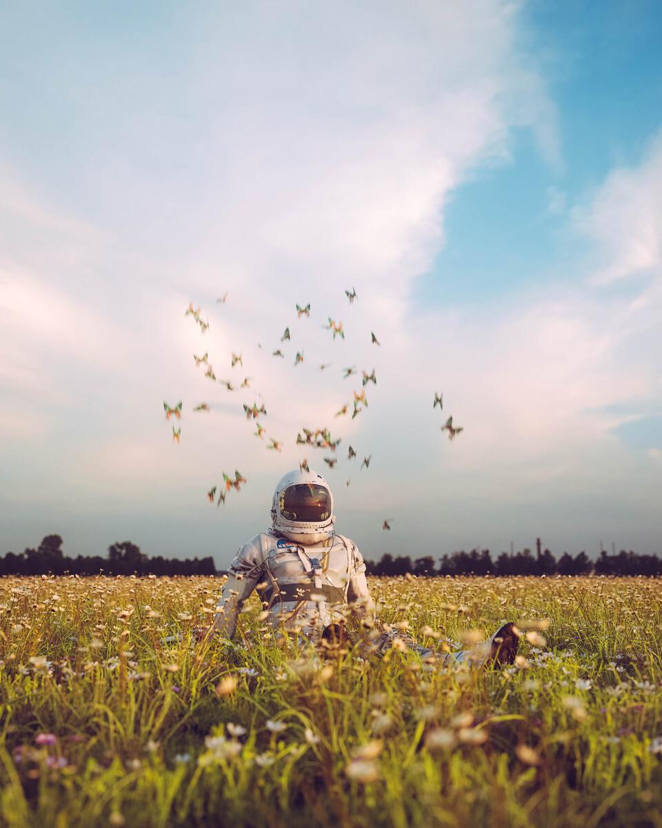 Астронавт и бабочки, 2021. Фотограф Кэмерон Бёрнс
