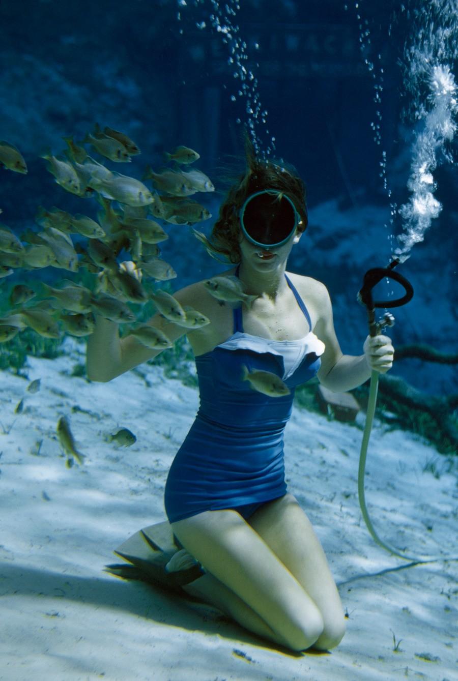 Подводное плавание в Вики-Вачи-Спрингс, Флорида, 1955. Фотограф Бейтс Литтлхейлз