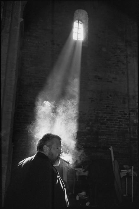 Орсон Уэллс на съёмках фильма «Фальстаф» (или «Полуночные колокола»), 1964