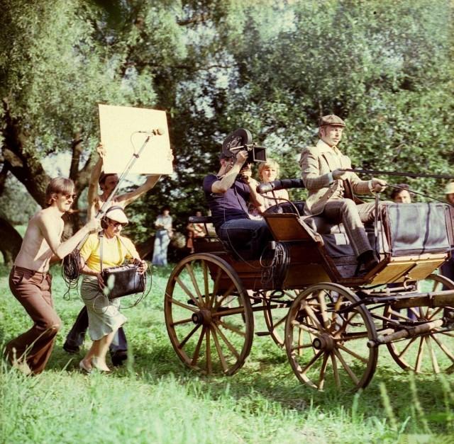 Съёмки фильма «Несколько дней из жизни И. И. Обломова». Деревня Сенькино, Московская область, 1979