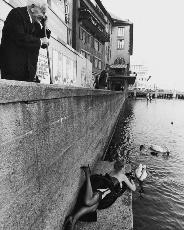 Кормление лебедей. Цюрих, 1970-е. Фотограф Джилл Фридман