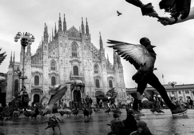 «Бёрдмэн». Пьяцца-дель-Дуомо, Милан. Фотограф Войтек Дворачек