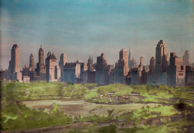Вид на Центральный парк в Нью-Йорке, 1930. Автохром, фотограф Оррен Р. Лоуден