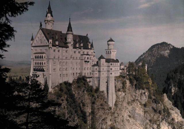 Замок Нойшванштайн, Германия, 1925. Автохром, фотограф Ганс Хильденбранд