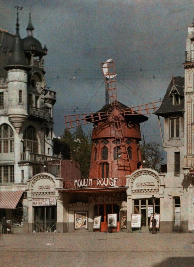 «Мулен Руж», Париж, 1923. Автохром, фотограф Жюль Жерве-Куртельмон