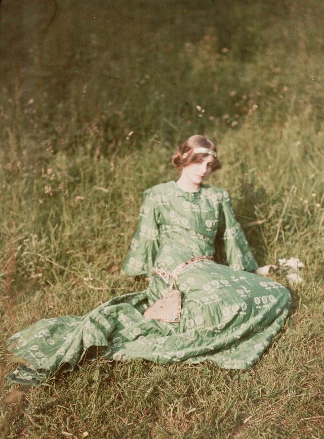 Грёзы, 1909. Автохром, фотограф Джон Кимон Варбург