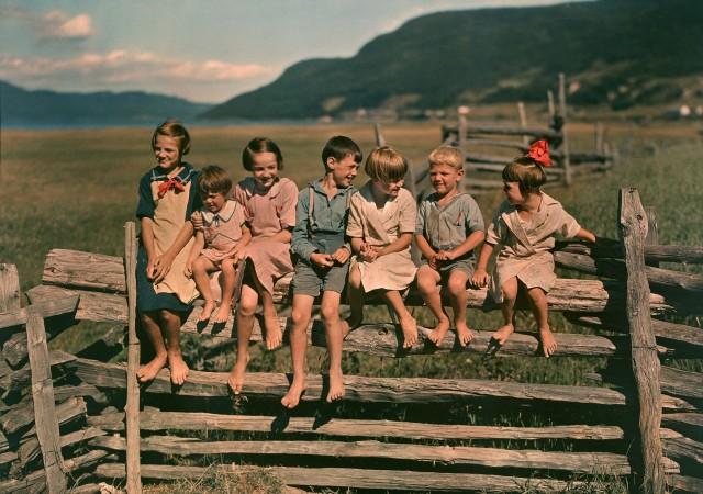 Семеро братьев и сестёр на заборе в Квебеке, Канада, 1939. Автохром, фотограф Хауэлл Уокер