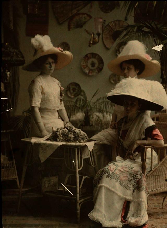 Дамы в шляпах, автохром, 1907 – 1916