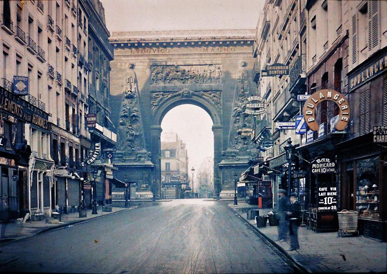 Ворота Сен-Дени, Париж, автохром, 1914