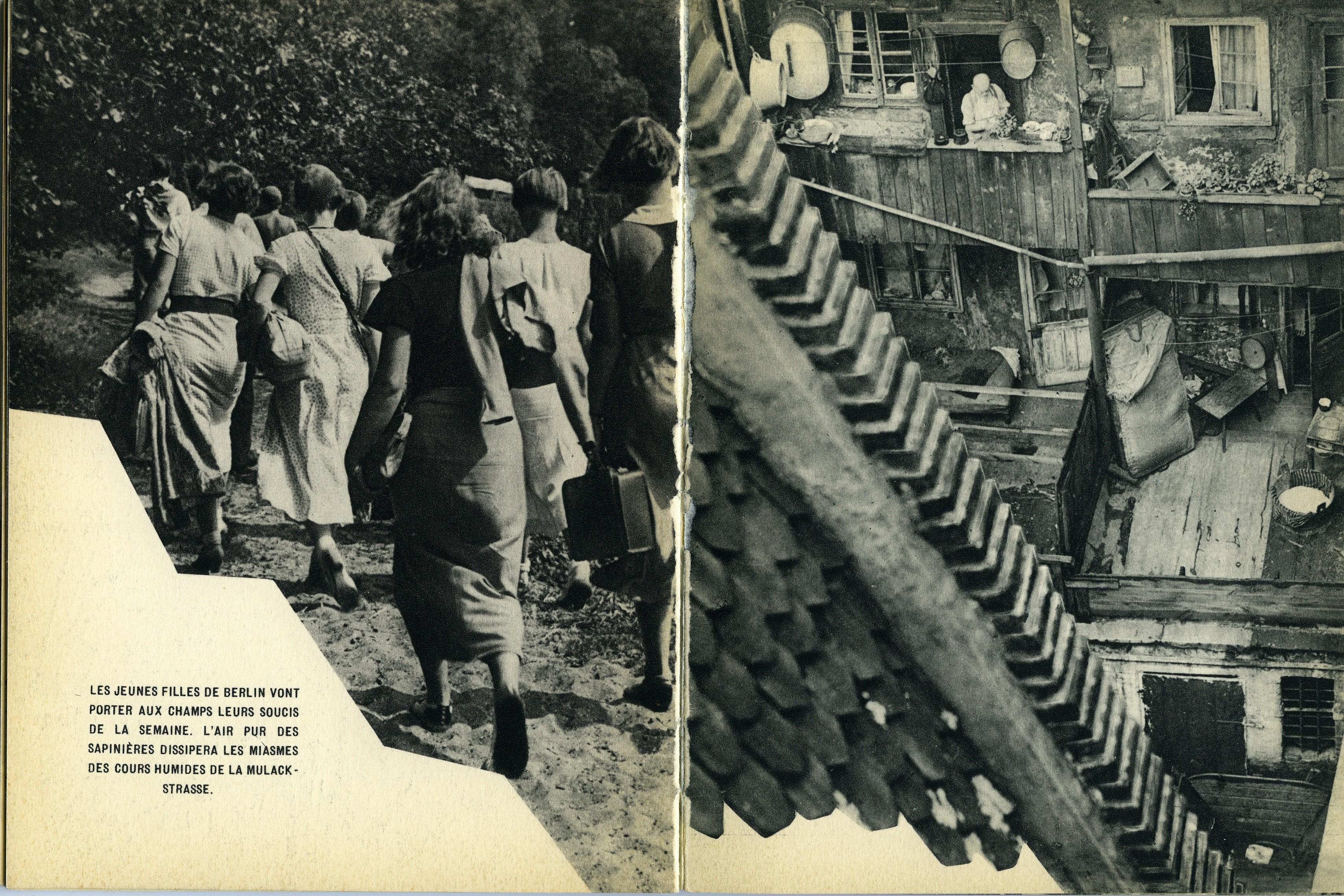 Берлинские барышни на свежем воздухе и двор Мулакштрассе. Из фотокниги «Берлин», 1930-е. Автор Пьер Мак-Орлан
