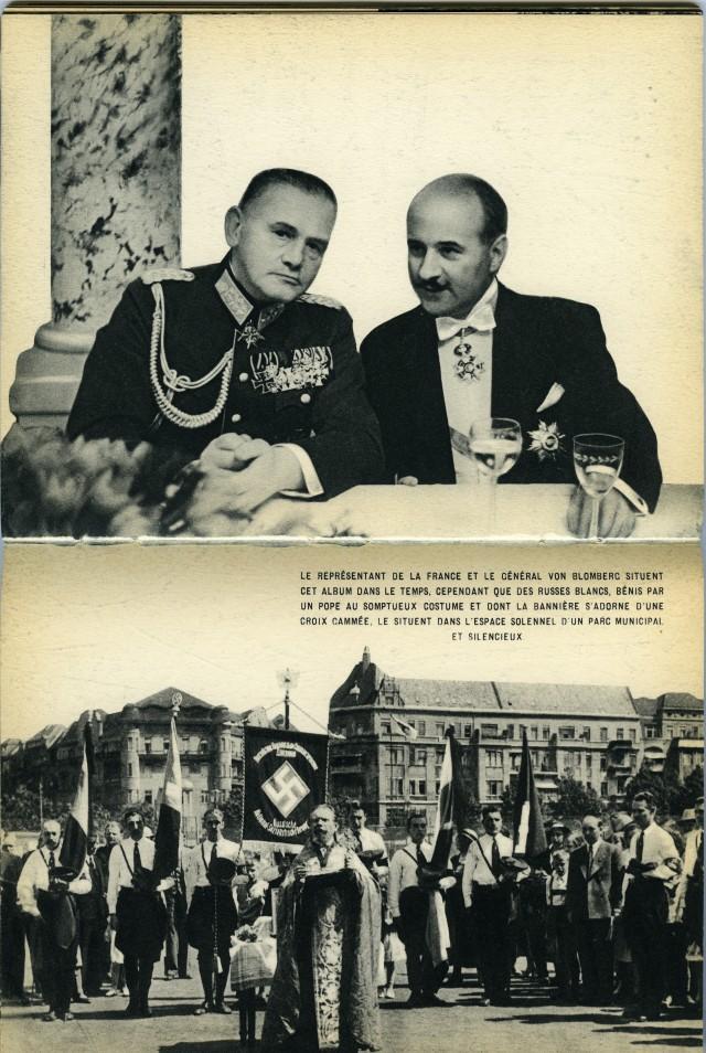 Генерал Вернер фон Бломберг с представителем Франции и белые русские, благословлённые попом в муниципальном парке. Из фотокниги «Берлин», 1930-е. Автор Пьер Мак-Орлан
