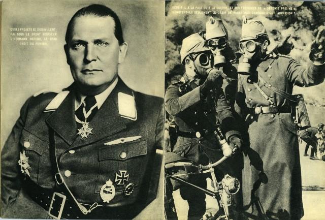 Генерал Герман Геринг и военные в противогазах. Из фотокниги «Берлин», 1930-е. Автор Пьер Мак-Орлан