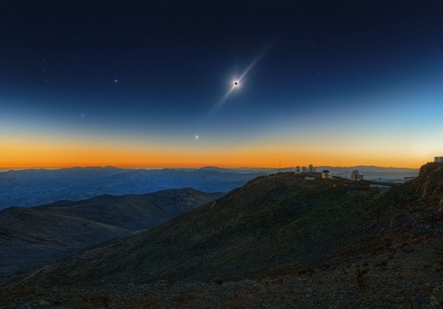Полное солнечное затмение, Венера и красный сверхгигант Бетельгейзе. Автор Себастьян Вольтмер