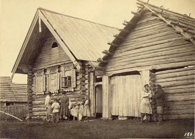 Крестьянская изба в Колпине, Санкт-Петербургская губерния, 1860-е. Автор В. А. Каррик