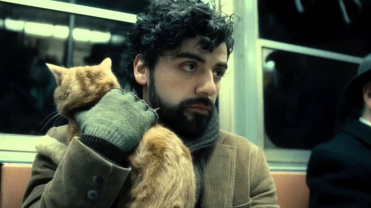 Оскар Айзек с котом в фильме «Внутри Льюина Дэвиса», 2013