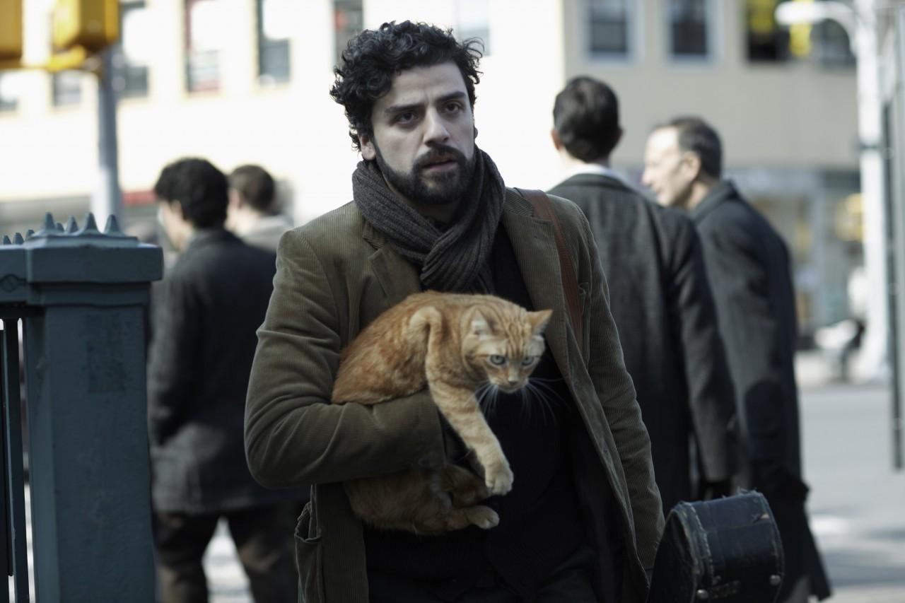 Оскар Айзек с рыжим котом на съёмках фильма «Внутри Льюина Дэвиса», 2013