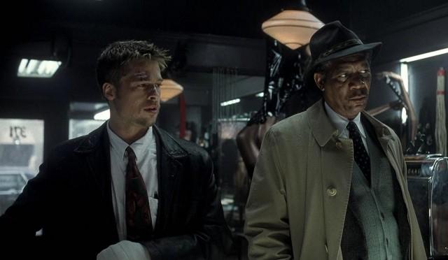 Брэд Питт и Морган Фримен в триллере «Семь», 1995