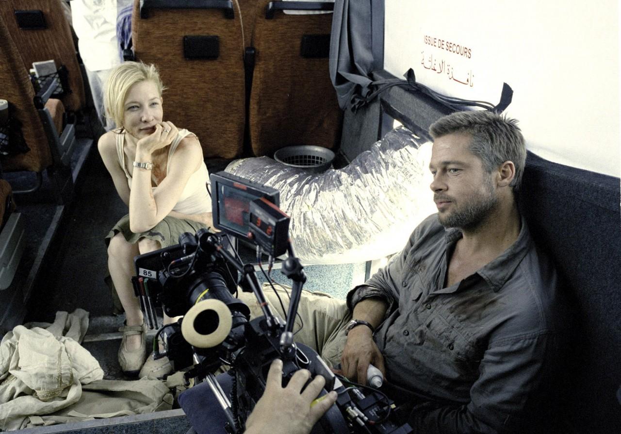 Кейт Бланшетт и Брэд Питт на съёмках «Вавилона», 2006