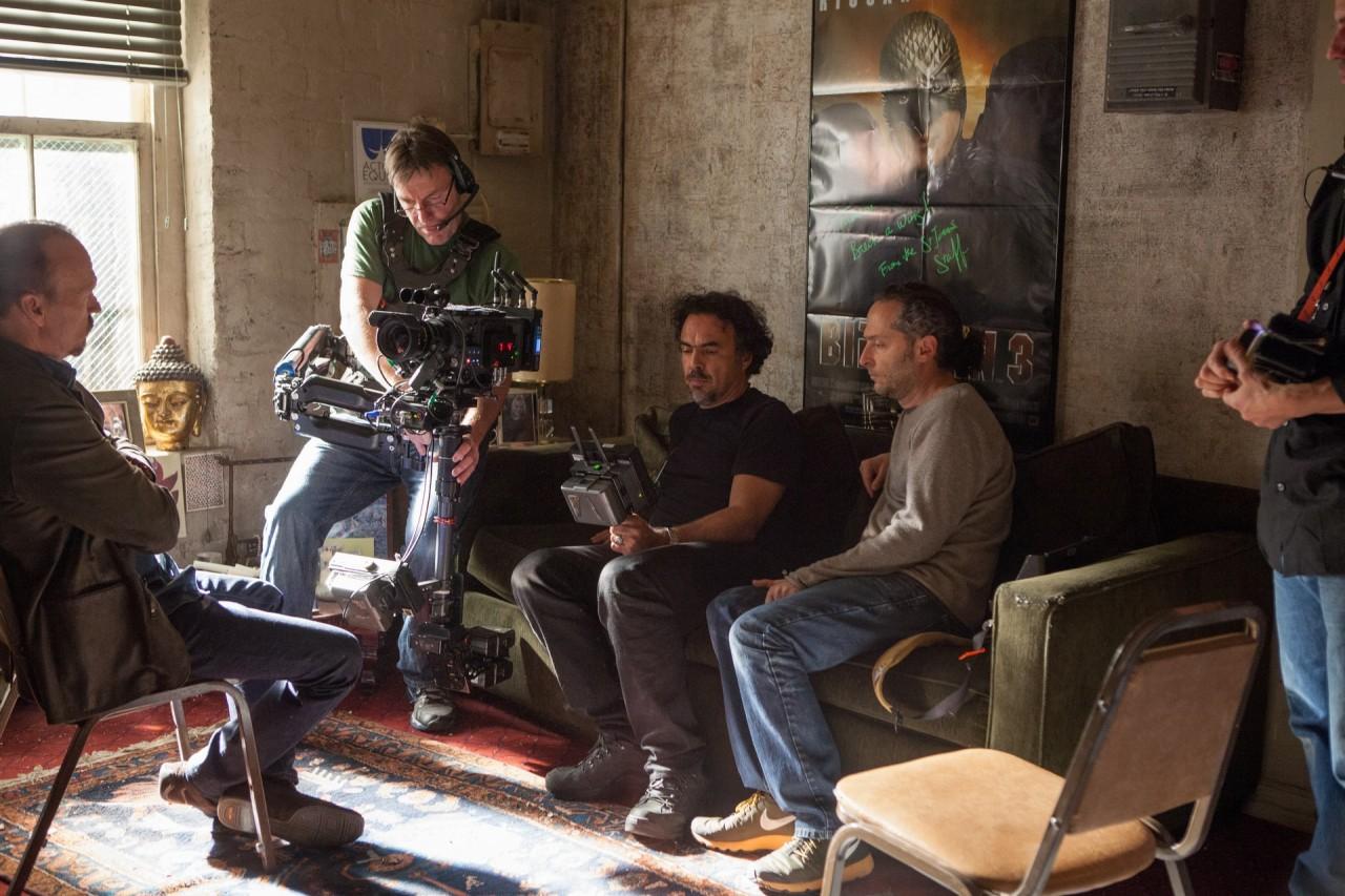На съёмках «Бёрдмэна», 2014