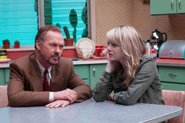 Майкл Китон и Эмма Стоун в «Бёрдмэне», 2014