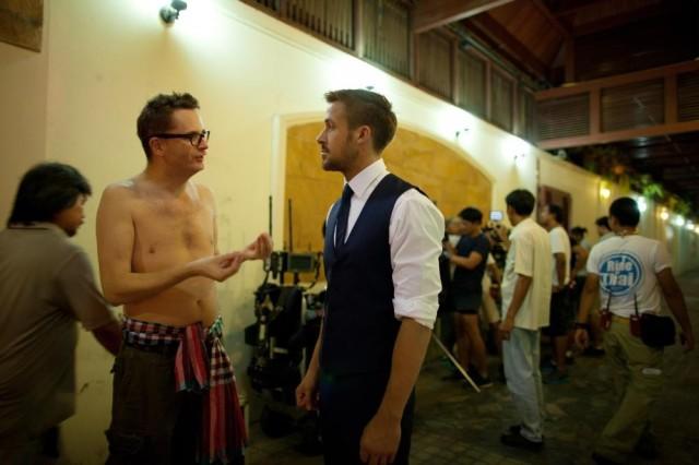 Райан Гослинг и Николас Виндинг Рефн на съёмочной площадке фильма «Только Бог простит», 2013