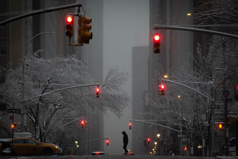 Снежок на Мэдисон-авеню, Нью-Йорк. Фотограф Фил Пенман