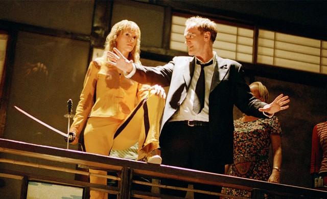 Ума Турман и Квентин Тарантино на съёмках фильма «Убить Билла. Фильм 1», 2003
