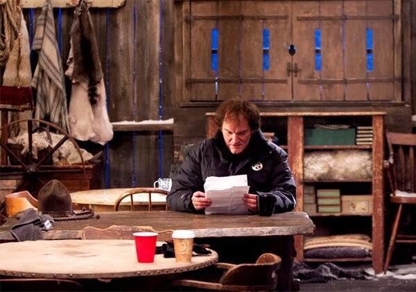 Квентин Тарантино на съёмках фильма «Омерзительная восьмёрка», 2015