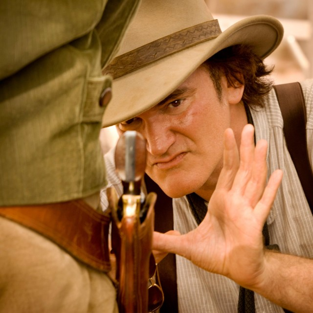 Квентин Тарантино на съёмках фильма «Джанго освобождённый», 2012