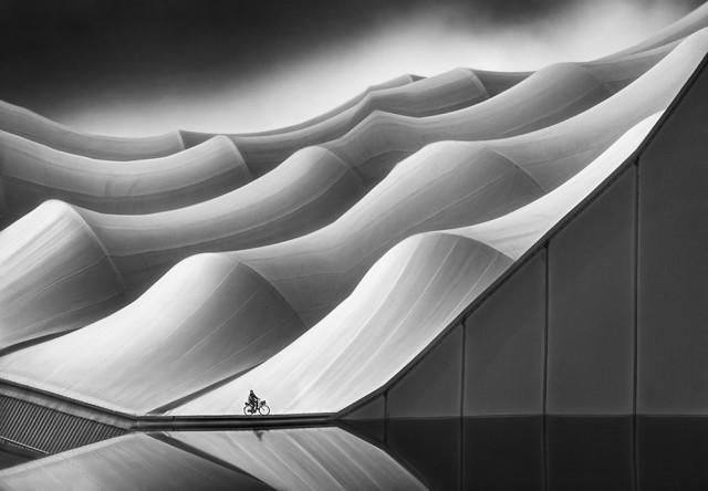 1-е место в категории «Архитектура» среди профессионалов, 2019. «Одинокий велосипедист». Автор Марсель ван Балкен