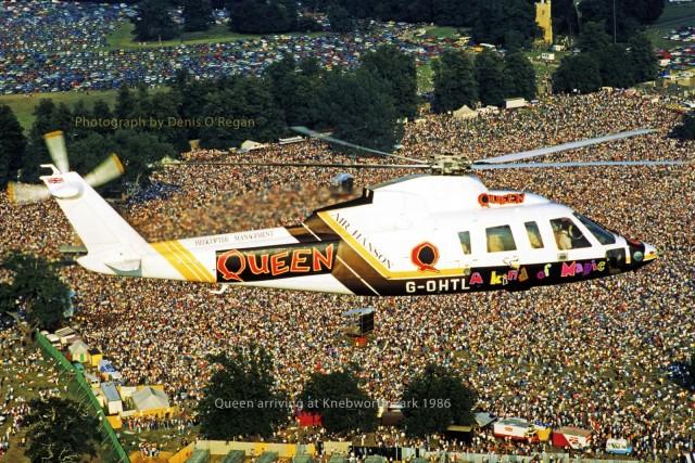 Queen, прибывшие на вертолёте на свой концерт в Небуорт Парк (Англия). Как оказалось, последнее выступление группы, 1986 год. Фотограф Дэнис О'Риган
