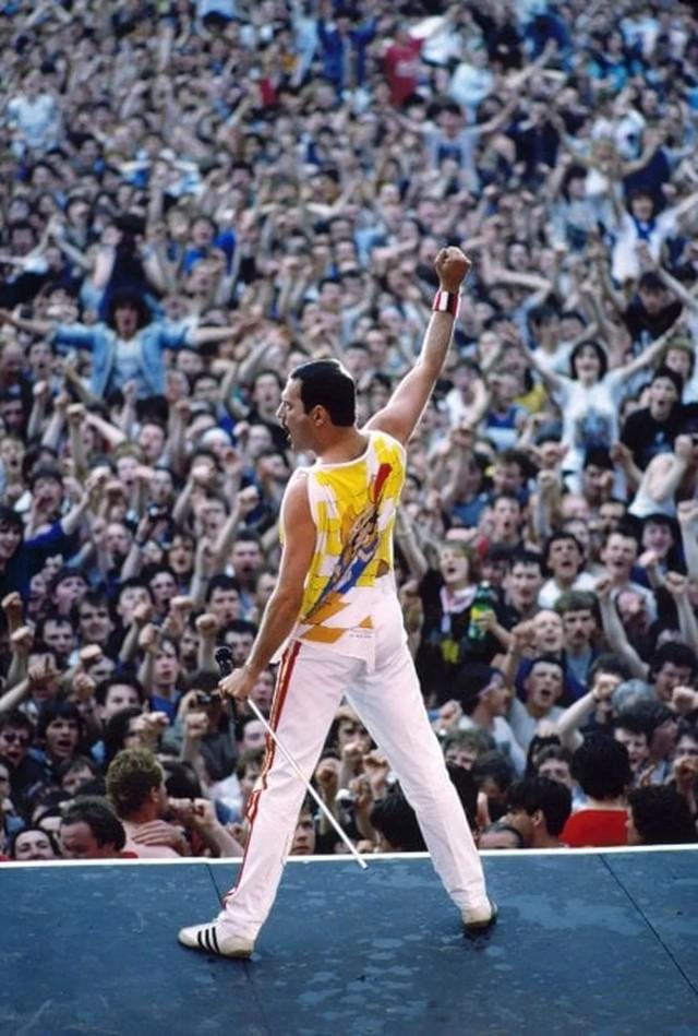 Финальная поза Фредди на концерте Queen в замке Слейн (Ирландия), 1986 год. Снимок был использован для обложки биографии Меркьюри, её автор  – Лесли Джонс. Фотограф Дэнис О'Риган