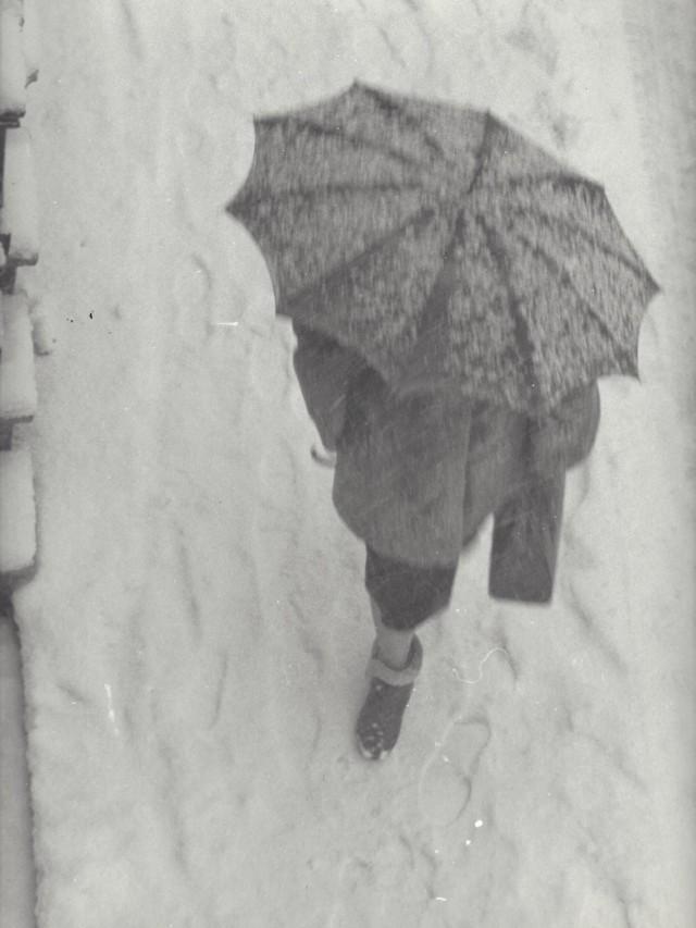 Женщина в снегопад, Амстердам, 1950-е. Фотограф Кис Шерер