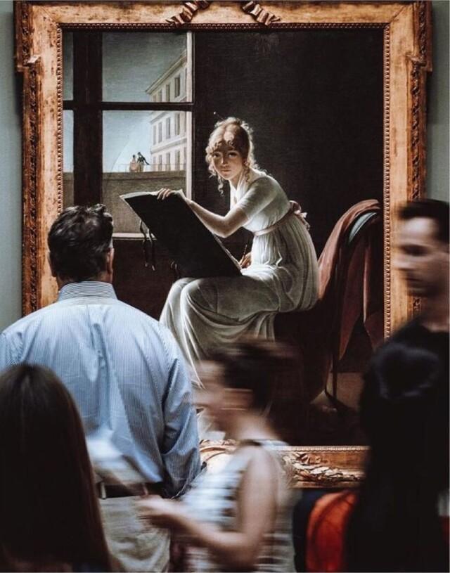 Перед картиной «Рисующая молодая женщина» (1801) Мари-Дениз Вильер