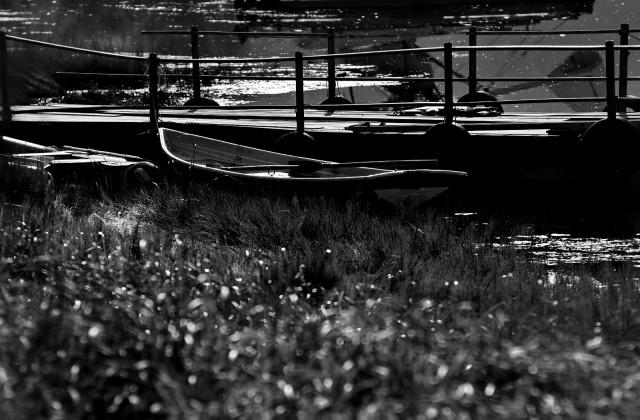 Пейзаж с росой и лодками
