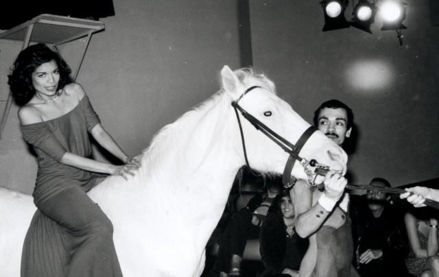 Бьянка Джаггер в честь своего дня рождения выехала к гостям на белом коне, «Студия 54», 1977 год