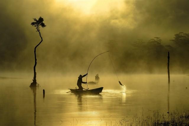 Утренняя рыбалка, Вьетнам, Хошимин. Автор Дунг Фам