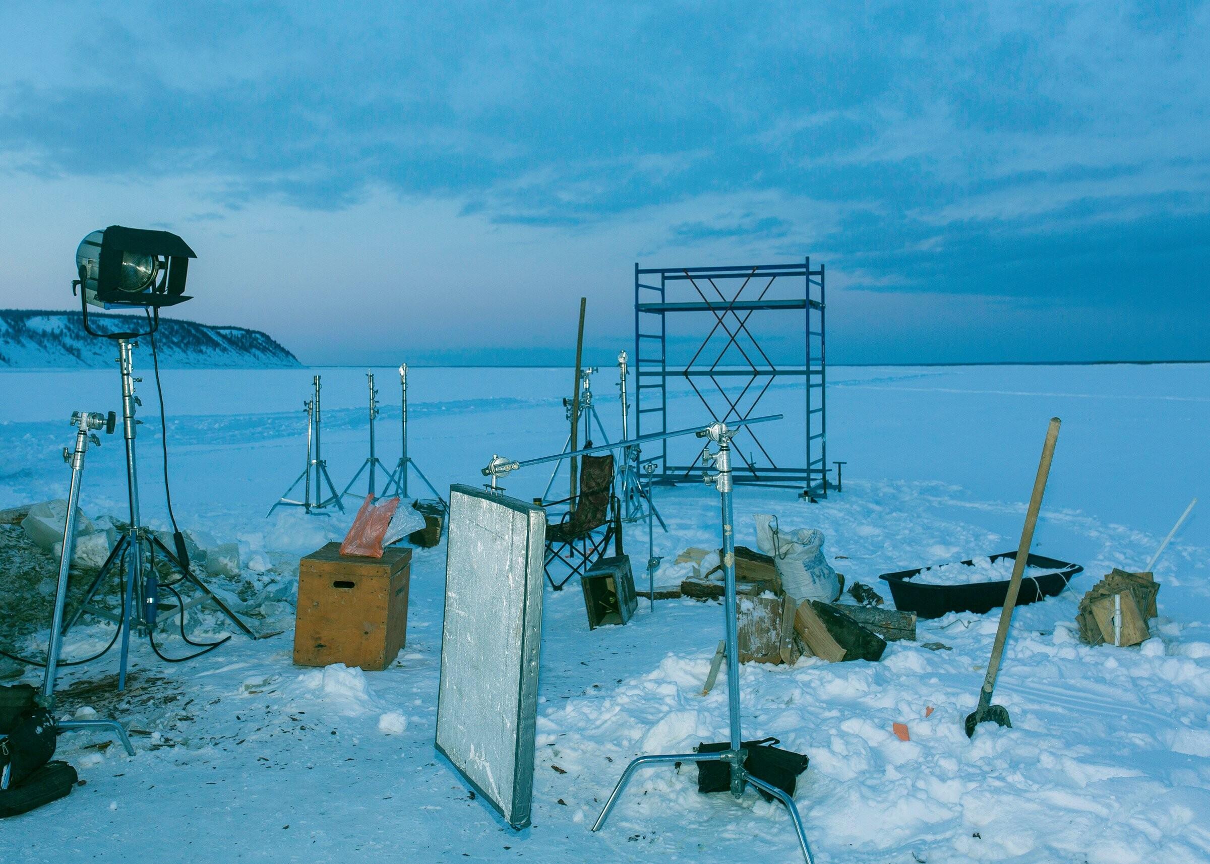 Съёмки фильма «Чёрный снег» на реке Лена. Фотограф Алексей Васильев