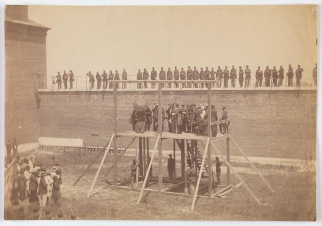 Казнь заговорщиков против Авраама Линкольна, 7 июля 1865 года. Автор Александр Гарднер