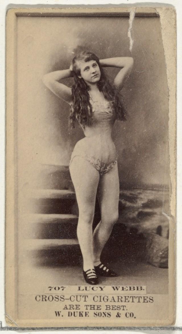 Люси Уэбб, торговая карточка из серии «Актёры и актрисы», выпущенной компанией «Дюк и сыновья» для продвижения сигарет, 1880-е