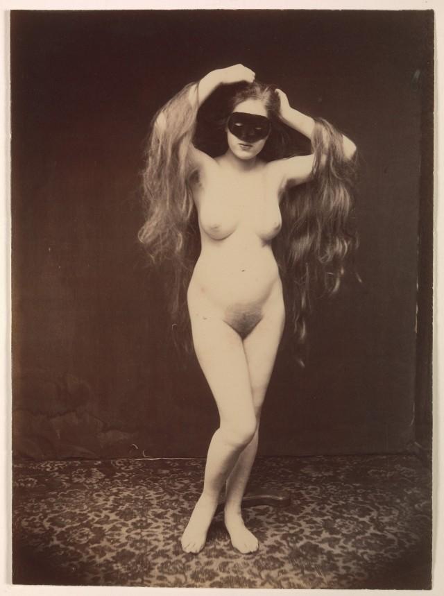 Обнажённая женщина в маске, 1870